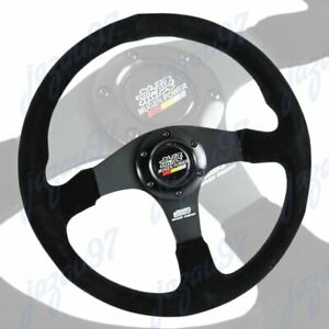 "14"" MUGEN Style Racing Black Stitching Suede Sport Steering Wheel w Horn Button"