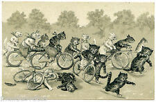 NOT SIGNED. LOUIS WAIN. CHATS. HUMANIZED CATS. LA COURSE CYCLISTE CYCLING RACE