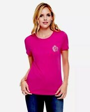 JUICY COUTURE $48 ICONIC TEE Foil Graphic Logo T Shirt SWEET RASPBERRY Pink L