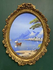Antique Gauche Seascape Painting In Gold Gilt Frame By H Salari