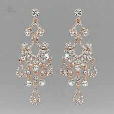 ROSE GOLD Plated Clear Crystal Rhinestone Chandelier Drop Dangle Earrings 05383