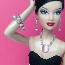 S510 Doll Jewelry Barbie Silkstone Fashion Royalty silver & pink for collectors