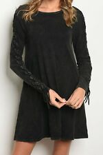 LONG SLEEVE TUNIC DRESS GRUNGE LOOK MINERAL WASH