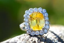 New 18ct White Gold 4.74ct Natural Yellow Sapphire and 1.25ct Diamond Ring