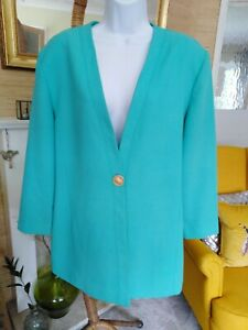 Vintage 90s Jacques Vert Jade Jacket with Ornate Gold Button- Size 18
