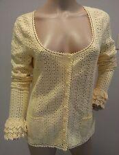 VTG Oscar De La Renta Yellow Crochet Lace Cardigan Sweater Top M