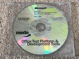 MICROSOFT MSDN OFFICE TEST PLATFORM & DEVELOPMENT TOOLS US CD FRONTPAGE 98 1998