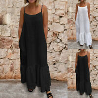 Womens Casual Plain A-line Sleeveless Cotton Sundress Loose Maxi Dress Size 8-26