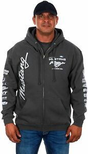 Men's Ford Mustang Hoodie Gray Charcoal Zip Jacket Screen Printed Logos SALE