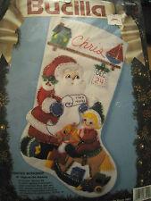"BUCILLA Christmas Holiday STOCKING FELT Applique Kit,SANTA'S WORKSHOP,83010,18"""