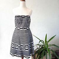 Karen Millen Black & White Striped Fit & Flare Party Dress Size 14 Womens