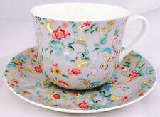 Pearl Grey Petite Bombay Large Cup & Saucer Bone China Breakfast Set Decorate UK