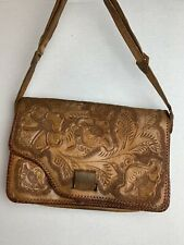 New listing Gorgeous Vintage Hand Tooled Embossed Leather Satchel Tote Bag Crossbody Floral