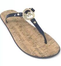 NEW Michael Kors Navy Blue Jelly Cork Charm Women's Flip Flops Sandals Size 11