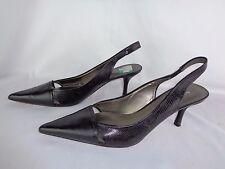 Nine West Black Point Toe Leather Heels Pumps Shoes Size 8.5