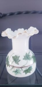 Vintage Hand Painted Green Ivy and Gold Consolidated Milk Glass Ruffled Vase