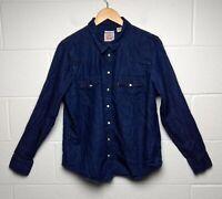 Levis Denim Womens Pearl Snap Button Western Long Sleeve Pocket Shirt XL Classic
