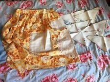 Vintage/Unworn Cotton Half Apron Shabby Chic Floral Retro Embroidery + 6 Napkins