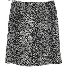 First Issue Liz Claiborne Womens Skirt Petite Size 6 6P Black Grey Animal Print