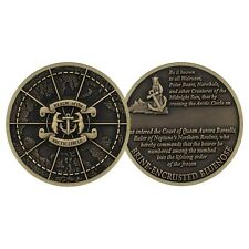 "BRINE ENCRUSTED BLUENOSE  REALM OF THE ARCTIC CIRCLE 1.75"" BRONZE CHALLENGE COIN"