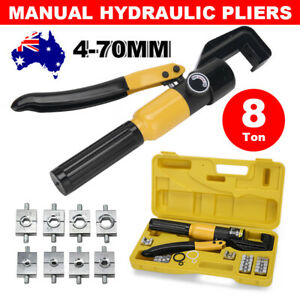 8 Ton Hydraulic Crimper Tool Kit 9 Dies Force Terminal Cable Lug Crimping Pliers