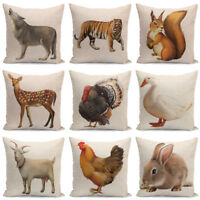 "18"" Animals Pattern Linen Throw PillowCase Pillow Cover Cushion Cover Home Decor"
