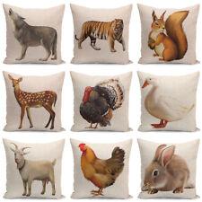 "18"" Animals Pattern Linen Throw PillowCase Pillow Cover Cushion Cover Home Decor"