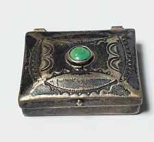 Vintage Sterling Pill Box with Green Stone Lot #55