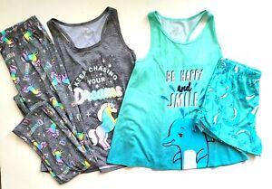 Justice Girls 12 Unicorn Dolphin Tank Shorts Pjs Pajamas Set SB1-254
