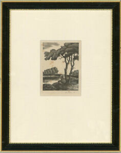 M. Pielon - Signed & Framed 1947 Woodcut, Tree by the Lake