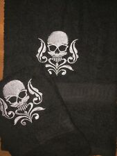 Embroidered BLACK Bathroom Hand Towel & Cloth Set H1124  Skull w Damask Swirls
