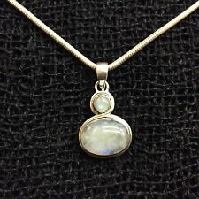 Moonstone and Sterling Silver 925 Oval Pendant Handmade from India
