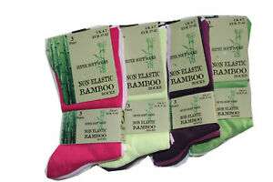 6 Pairs Of Ladies Bamboo Loose Top Socks, Super Soft Anti Bacterial Socks
