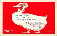"Fantasy Chantecler Series Duck ""The Better The Day..."" Antique Postcard V17129"