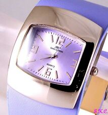 Boho Retro 60s 70s Club Bubble Vegan Lilac Faux Leather Ladies Eames Watch Cuff