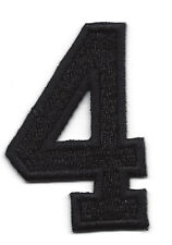 """NUMBERS  - Black Number """"4"""" (1 7/8"""") - Iron On Embroidered Applique/Numbers"""