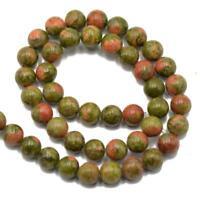 """8mm Natural Unakite Jasper Round Gemstone Jewelry Loose Beads Strand 15"""""""