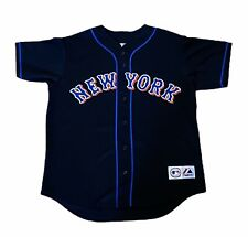 Majestic Mens Size Large MLB New York Mets Johan Santana Black Stitched Jersey