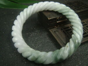 Antique Chinese Nephrite Celadon Emerald Grade A Jade Twisted wire -Bracelet
