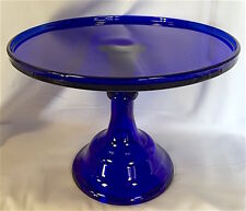 """Cake Plate Pastry Tray Bakers Cupcake Stand Plain & Simple Cobalt Blue Glass 10"""""""