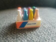 Vintage Crayon Toy milk bottles with carton/carrier.