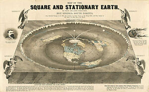 """1893 Square and Stationary Earth 11""""x16"""" Map Orlando Ferguson Flat Earth Poster"""