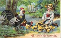 easter greetings child rooster chicken chicks times square vintage 1910 postcard