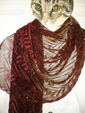 RENATO BALESTRA HUGE SHEER IRIDESCENT METALLIC RED GOLD EVENING SCARF WRAP NWT