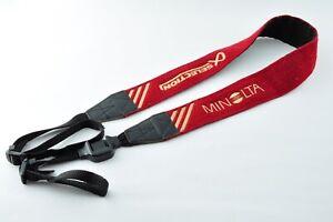 [ RARE! Excellent +3 ] MINOLTA Camera Neck Strap Wine Red from Japan