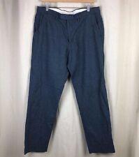 Mens J. Crew Bowery Dark Blue Classic Fit Linen Cotton Blend Pants Size 34x32