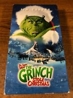 How The Grinch Stole Christmas  VHS Used Tape Movie  Jim Carrey Comedy Slip Case