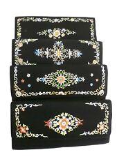 Vintage Bag Black Silk Embroidered Floral Clutch Purse 1960S