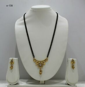 indian jewellery Mangalsutra with earrings Ethnic necklace chain black bead mala