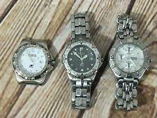 (3) FOSSIL Blue Men's Watches Stainless Steel